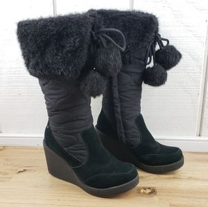 """REPORT """"Starla"""" Black Quilted Suede Fur Cuff Wedge"""